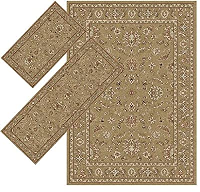 3-pieces Rectangle Polypropylene Synthetic Fiber Machine-Made Appealing Beige Border Area Rugs (Set includes 1'8x2'6, 1'10x5'4, 4'11x7')
