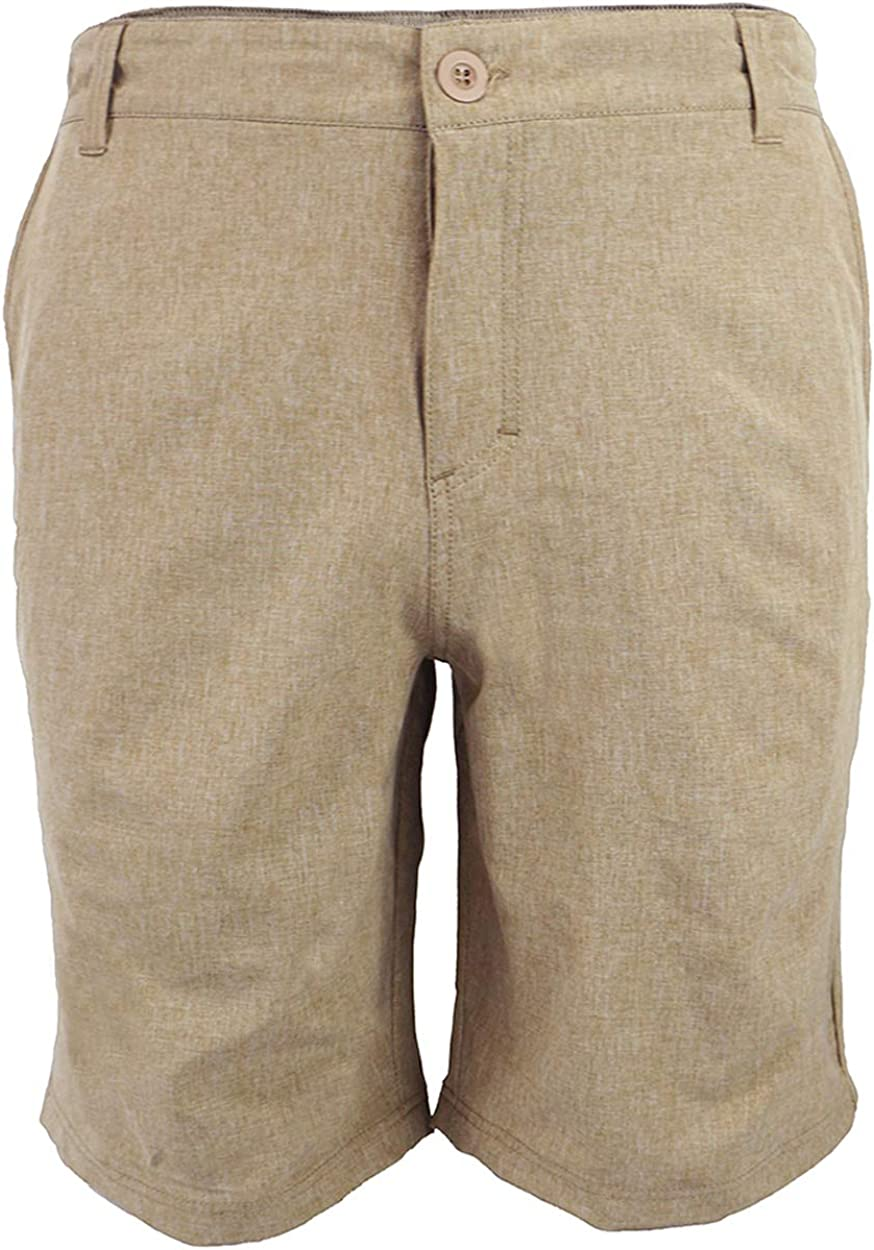 Men's Amphibian Hybrid Shorts Chino Golf Athletic Casual Quick Dry 21'' Solid Walk Boardshort Khaki Black