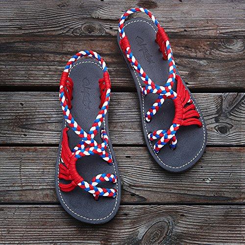 70d6d3ec7f6 Everelax Women s Flat Sandals Red Blue White 6B(M) US - Import It All