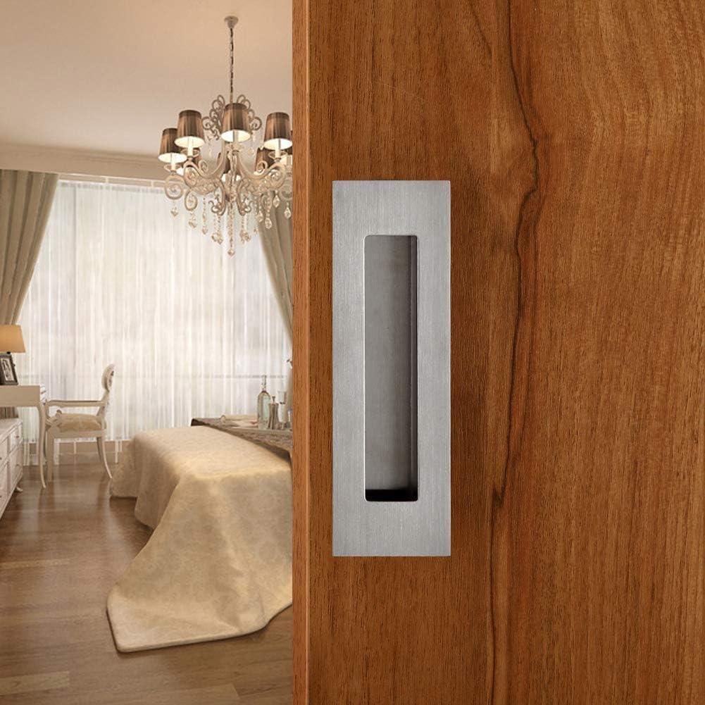 Goldenwarm Rectangular Flush Recessed Sliding Door Pull Handles Hidden Concealed Screws 4.7in Long 1.6in Wide Brushed Stainless Steel 1Pack