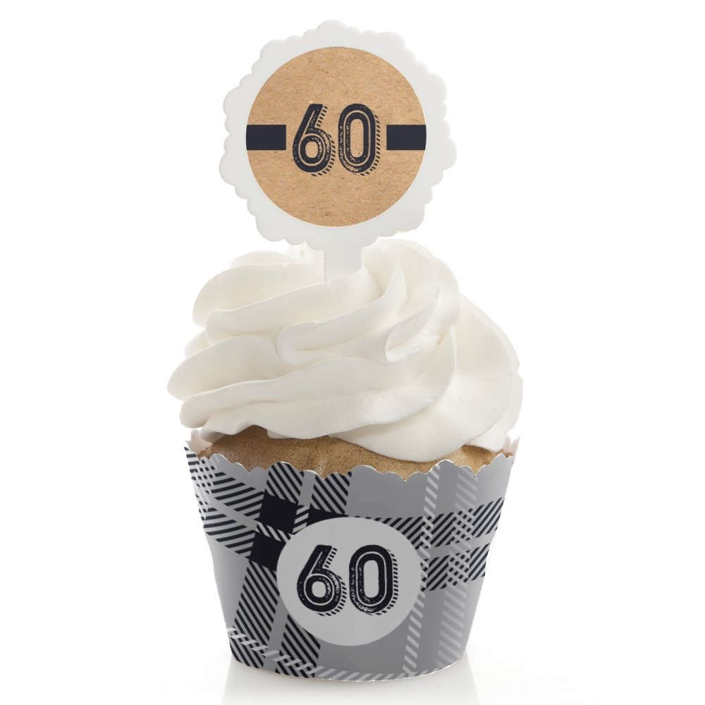 60th Milestone Birthday - Dashingly Aged to Perfection - Birthday Cupcake Wrapper and Pick - Cupcake Decorating Kit - Set of 24