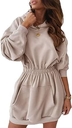Sudaderas con Capucha Mujer Manga Larga Jersey Larga Casual Vestidos Sudadera Vestidos Hoodie Jersey Larga con Bolsillos