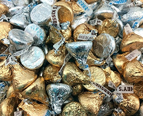Hershey Kisses Mix Creamy Milk Chocolate, Silver Milk Chocolate Kisses, Gold and Silver Foils (Pack of 2 Pound)