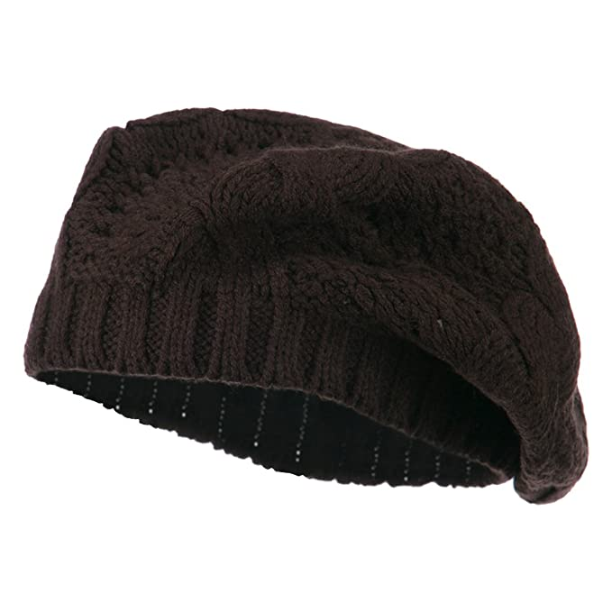 ec23dbf8ec4 Acrylic Cable Knit Beret - Brown OSFM at Amazon Women s Clothing store