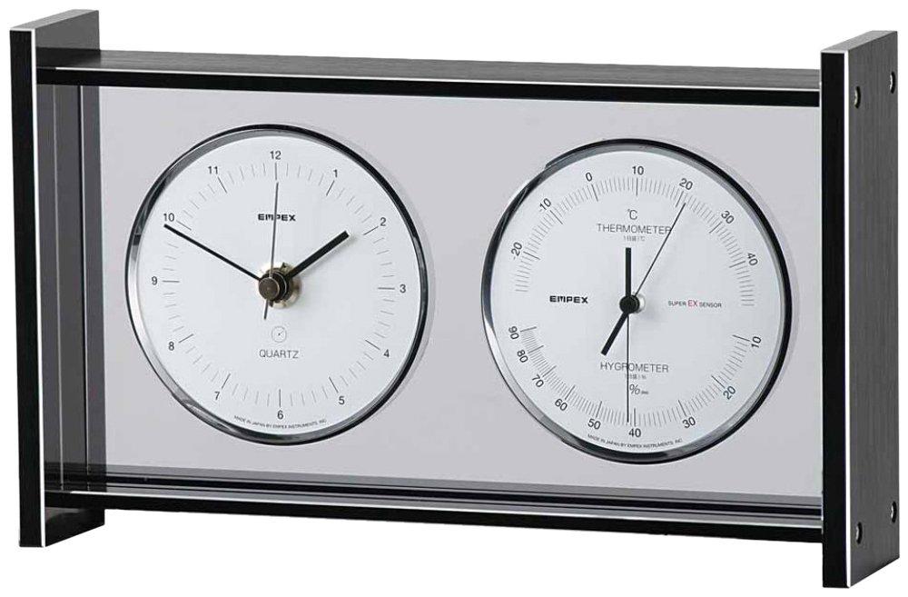 エンペックス気象計 温度湿度計 スーパーEXギャラリー 温度 湿度 時計表示 置き用 日本製 ブラック EX-792 B000YUS3XW ブラック ブラック