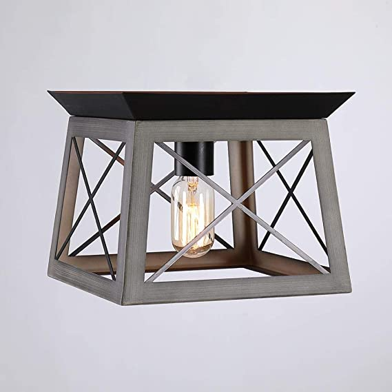 1 Light x 9.5 Inch Square Metal Antique Bronze One-Light Flush Mount Wood-Look Open Frame Barn Farmhouse Style