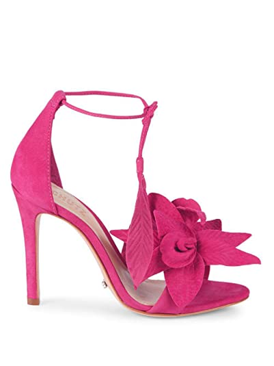 b1e67b617901 Amazon.com  SCHUTZ Thainy Bright Rose Pink Suede Stiletto Sandals Floral  Appliques Tie up  Shoes