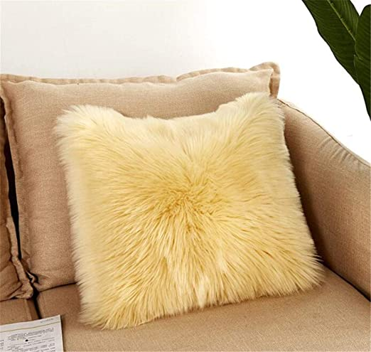 Luxury Long Faux Fur Throw Pillow Case