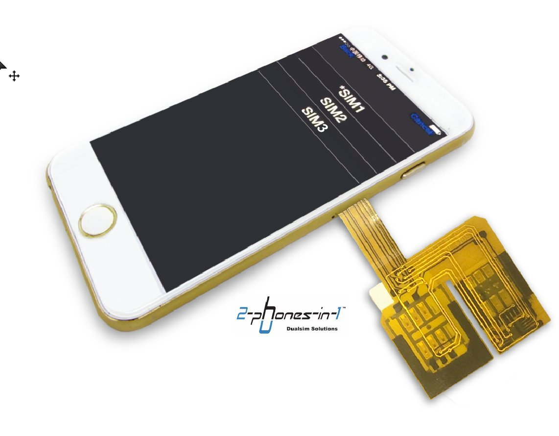 I-63 Dualsim Triple Sim Adapter with Case and Sim Adapter Set for iPhone 6 by 2-phones-in-1