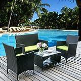Merax 4 PC Rattan Patio Furniture Set Outdoor Patio Cushioned Seat Wicker Sofa (Green Cushion)