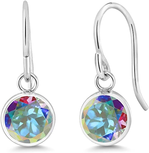2.00 Ct Round Pink Mystic Topaz Amethyst 925 Sterling Silver Earrings