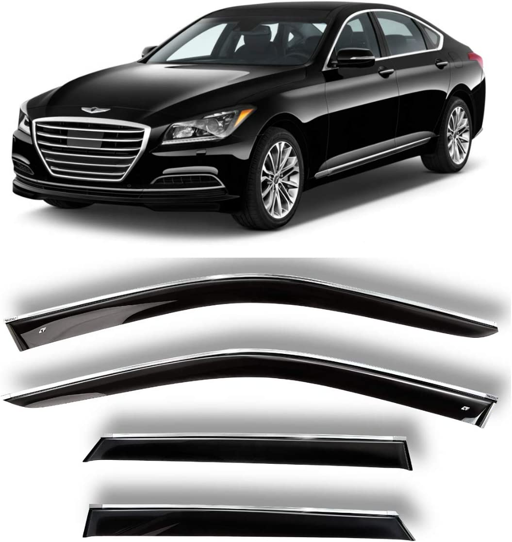 DH 2013-2016 Car Trim Side Vent Shades Air//Rain Guards Ventvisor Compatible with Hyundai Genesis Sd Chrome Window Deflector Set of 4-Pieces