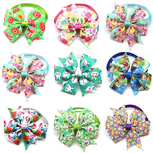 yagopet 10pcs/Pack Dog Easter Egg Bowtie Pinwheel Small Cat Dog Ties Rabbit Colorfull Egg Puppy Dog Neckties Bow Ties Cat Dog Ties for Easter Festival Dog Collar Dog Accessories