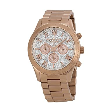 a38a5987369e Amazon.com  Michael Kors Layton Rose Gold-Tone Stainless Steel Chronograph Women s  watch  MK5946  Watches