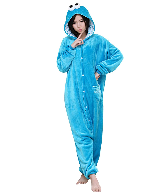 Amazon.com: Yimidear Unisex Adult Onesie Cookie Monster & Elmo Kigurumi Anime Sleepsuit Cosplay Costume: Clothing