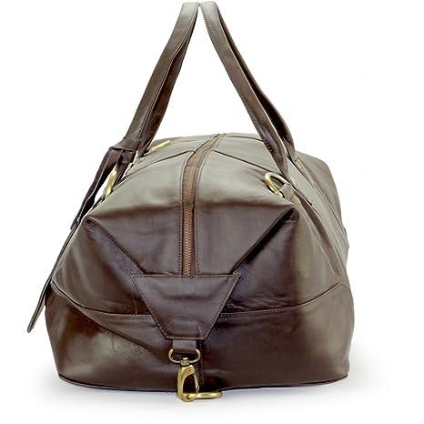 A.P. Donovan - Grand sac de Voyage pour les hommes - pour le fitness, sports, voyages courts - cuir Gym - très spacieux - 65cm - brun foncé