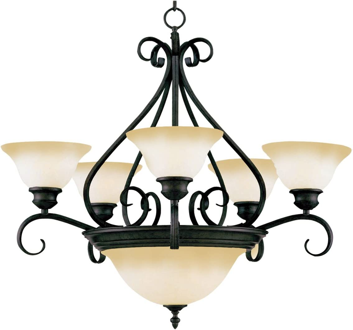 Maxim 2656WSKB Pacific Wilshire Glass Chandelier, 7-Light 420 Total Watts, 28 H x 27 W, Kentucky Bronze