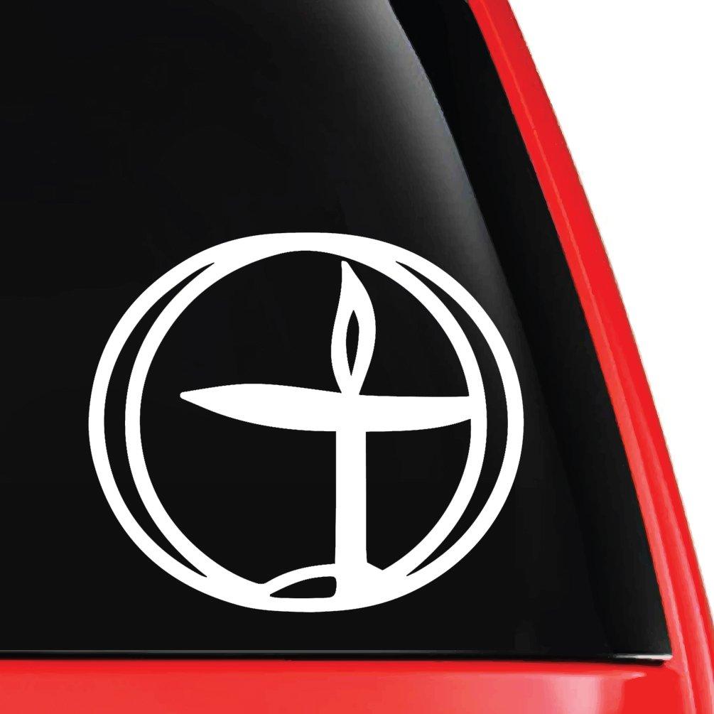 EvolveFISH UU Flaming Chalice Silhouette Decal Vinyl Car Laptop Sticker White...