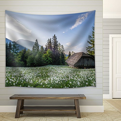 Wall26 wood hut with flowers surrounded with beautiful nature scenery fabric wall tapestry home decor 68x80 inches
