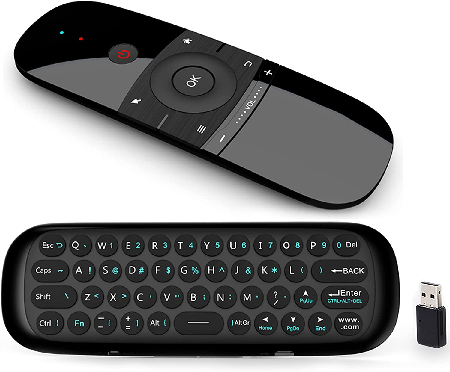 Air Mouse Remote Control,Upgrade W1 Universal 2.4GHz,Wireless Keyboard and Mouse Combo for Smart TV/Nvidia Shield/Android TV Box/HTPC/Mac/PC/Projector