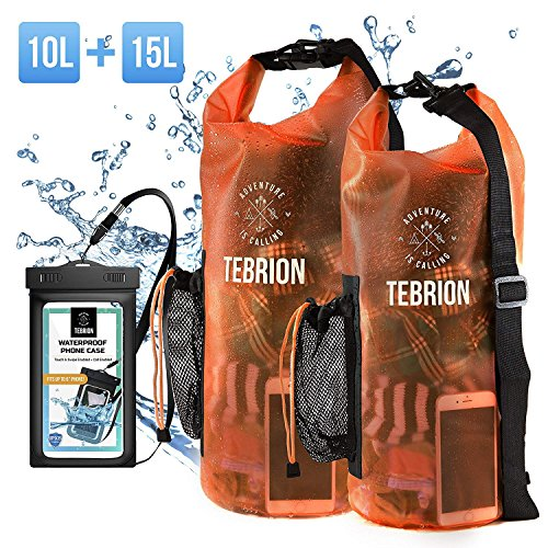 Clear Body Set (TEBRION 10L/15L/10L+15L Waterproof Dry Bag with Waterproof Phone Case Set Roll Top Sack Keep Gear Dry and Safe Perfect for Kayaking, Rafting, Boating, Orange)