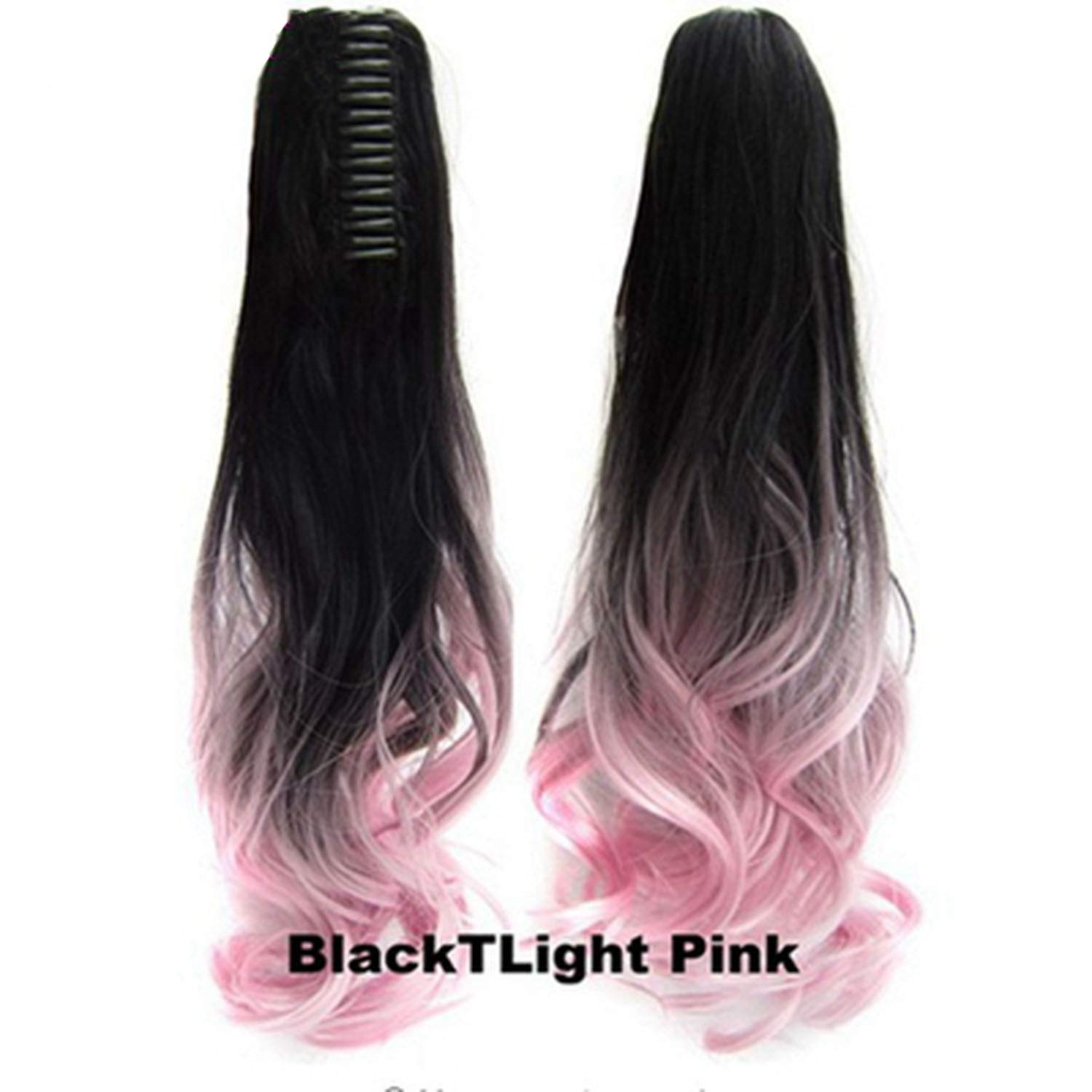 Hair Long Wy Ombre 20'' Clip On Hair Extensions Claw Pony Synthetic Hairpiece Heat Resistant Pony,Pink,20inches