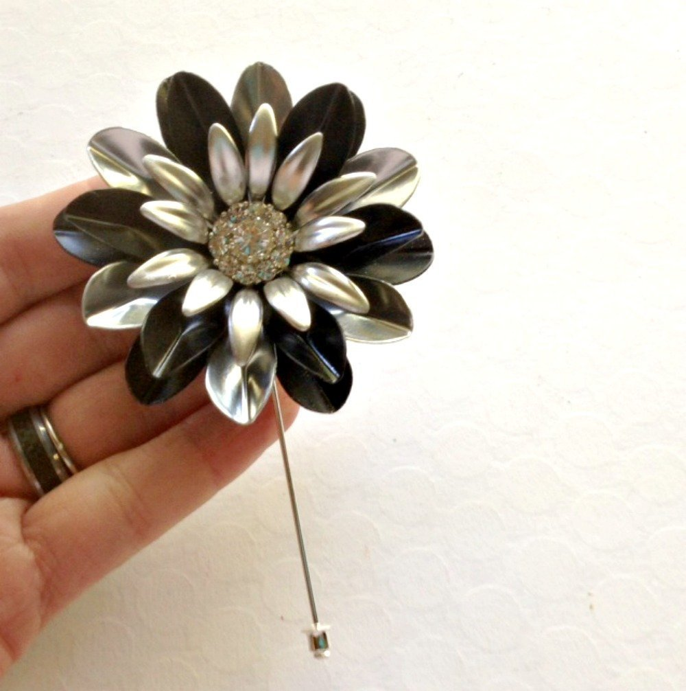 Large Black and Silver Painted Metal Flower Lapel Pin