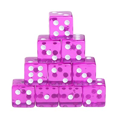 Buzh Set of 10 Six Sided D6 15mm Standard Dice Transparent Cube Round Corner: Toys & Games