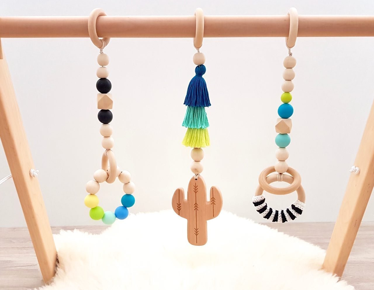 Boho cactus wooden baby gym mobiles set of 3. Desert. Saguaro. Mobiles ONLY. Activity center accessories, play gym wood. Baby shower gift. Gender neutral. Handmade