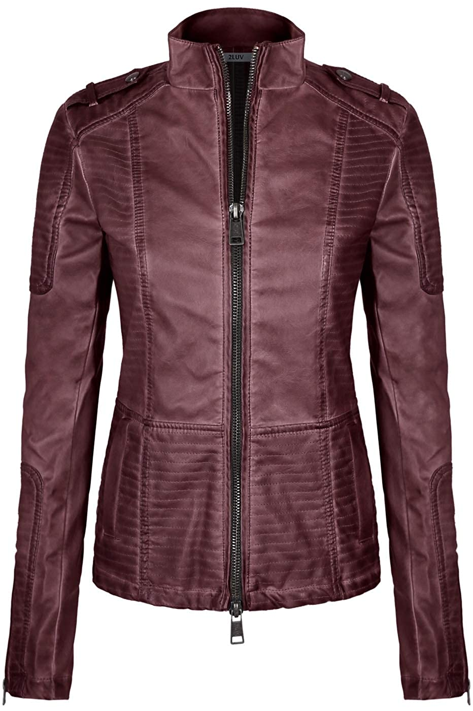 2LUV Women's Slim Tailoring Faux Leather Zipper Moto Biker PU Bomber Jacket