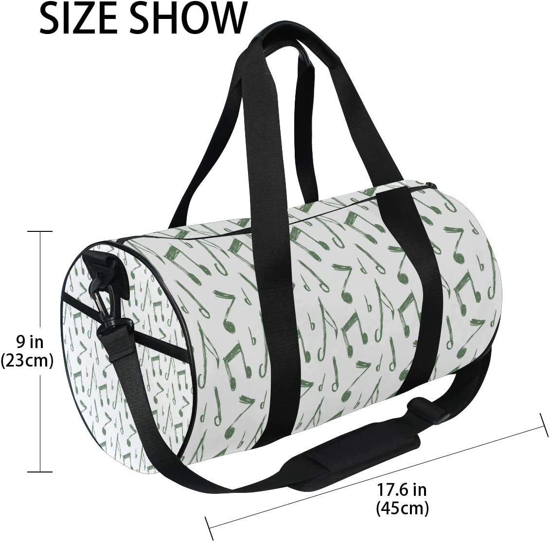MALPLENA Green Music Notes Drum gym duffel bag women Travel Bag