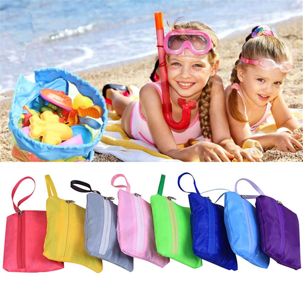 Lomire Bolsa de Malla de Playa Rosa Mochila de Juguetes Plegable con Correa Organizador de Bolas para Playa y Piscina