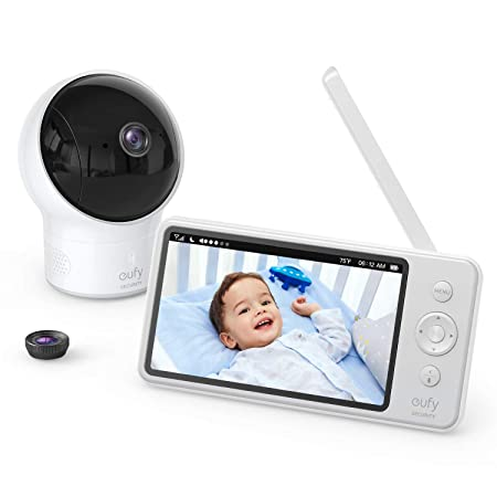 "eufy Security SpaceView Baby Monitor, 5"" LCD Display, 720p HD Resolution, 460 Ft Range, Wide-Angle Lens Included, Night Vision, 2-Way Audio, 2900mAh Rechargeable Battery, Smart Alert"