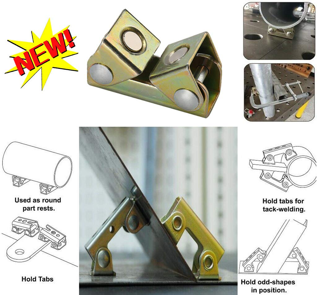 Vbestlife V Type Magnetic Welding Clamps Strong Magnetic Force for Doors Tool Boxes Windows Good Adsorption Welding Fixture Clamps