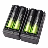 4X 5800mAh Li-ion 18650 3.7V Rechargeable Battery + 2X Smart Charger by Anglin