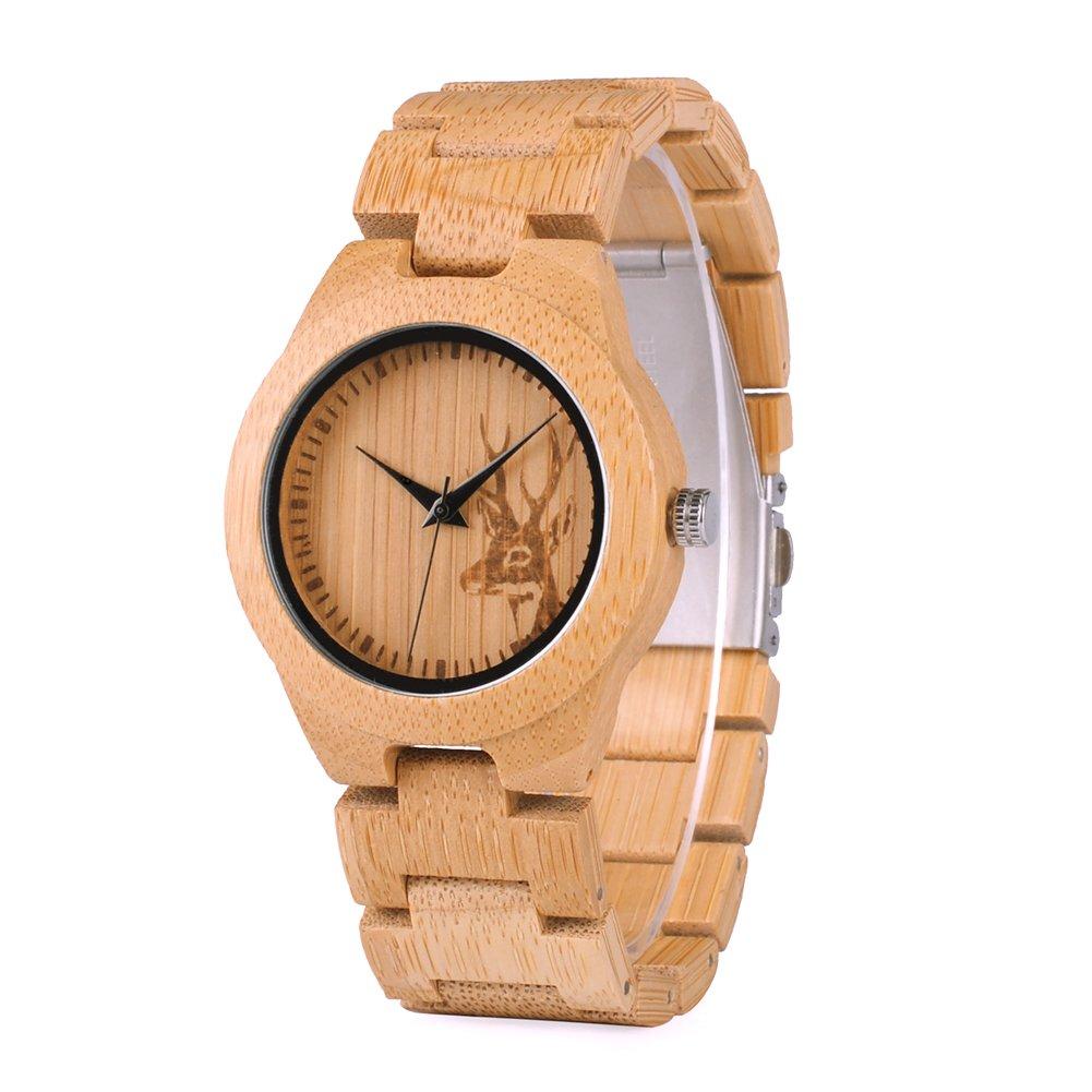 | BOBO BIRD Japan Quartz Casual Wood Bamboo Wrist Pocket Watch with Elk Shape Dial (Women)