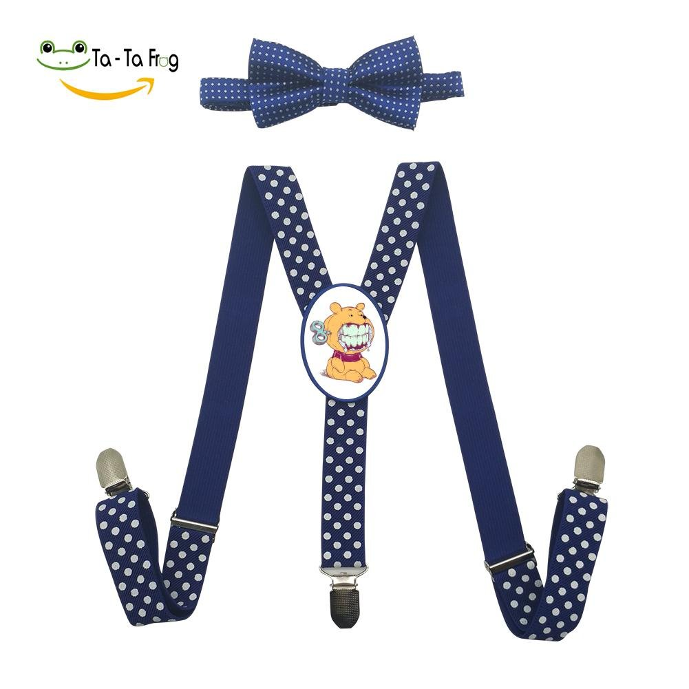 Xiacai Cartoon Bear Suspender/&Bow Tie Set Adjustable Clip-On Y-Suspender Boys