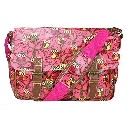Miss Lulu - Bolso estilo cartera para mujer Owl Dark Pink