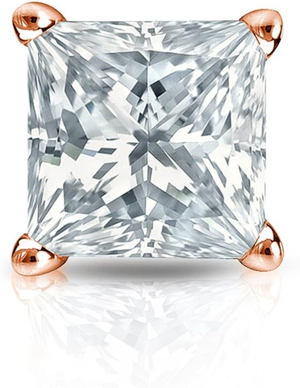 1//8-1ct,Excellent Quality 14k Rose Gold Men Princess Diamond Simulant CZ SINGLE STUD Earring 4Prong