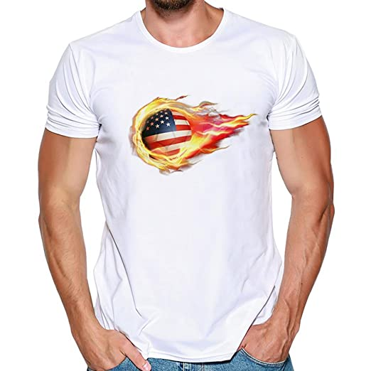 931eb170 Zulmaliu Men T-Shirt America Flag Tees Casual Short Sleeve Shirt Blouse  Tops for July