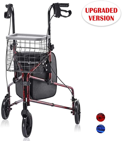 Upgraded Version! Health Line Lite Folding 3 Wheel Aluminum Rollator Walker Lightweight with Bag and Basket, Flame Red