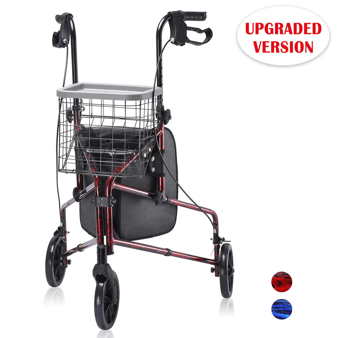 Upgraded Version ! Health Line Lite Folding 3 Wheel Aluminum Rollator Walker Lightweight with Bag and Basket, Flame Red by HEALTH LINE MASSAGE PRODUCTS