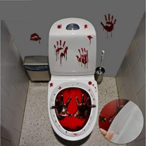 LLYDD Toilet Seat Cover 3D Horror Morphing Decal for Halloween Theme Party Home Decor (Zombie Hand&Blood)