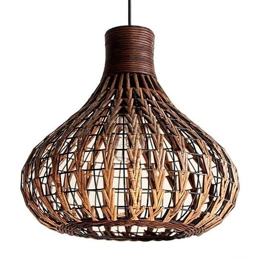 lámpara tonos Weave ratán de mimbre de bambú lámpara de araña DIY Natural colgante luz d13.8inch