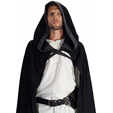 Amazon.com   Hooded Cloak  Renaissance Medieval Knight Jedi Harry ... 36ab19227