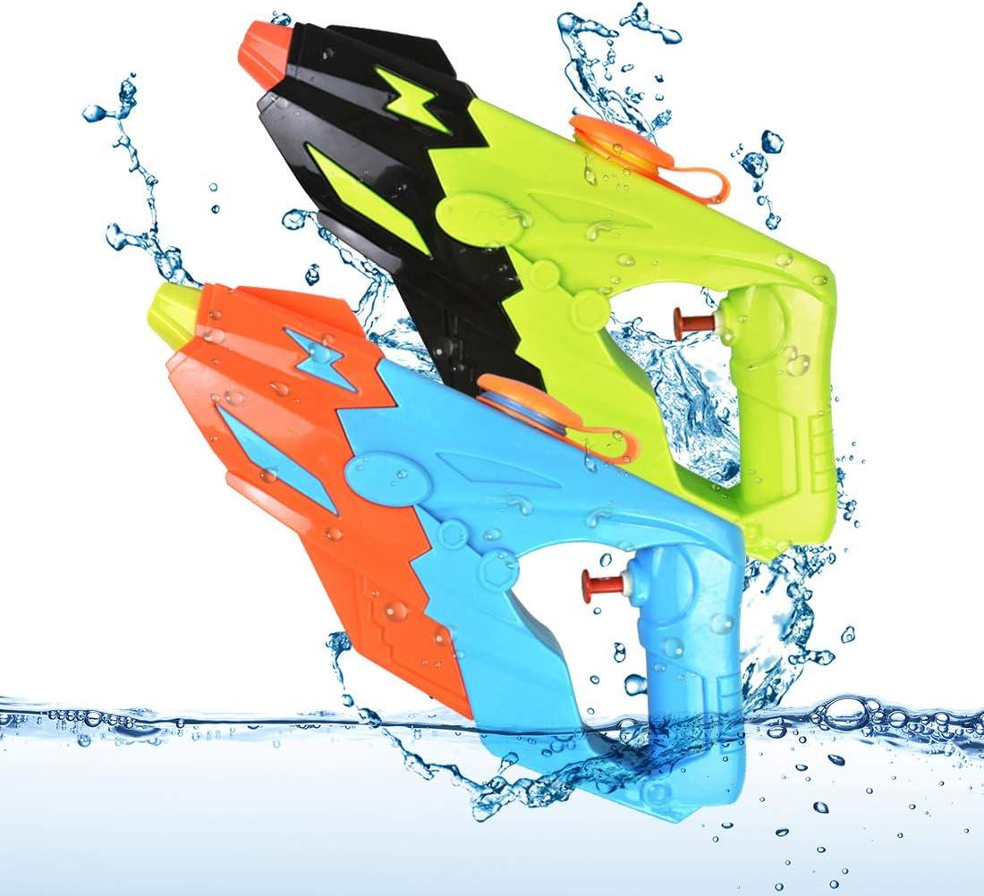 O-Kinee Pistolas de Agua, 2 Pack Conjunto Pistola de Pulverización Pistola Juguete para Jardín Juguete Rociador Fiestas de Verano al Aire Libre Infantil Batalla de Agua, Playa, Piscina, Azul y Verde