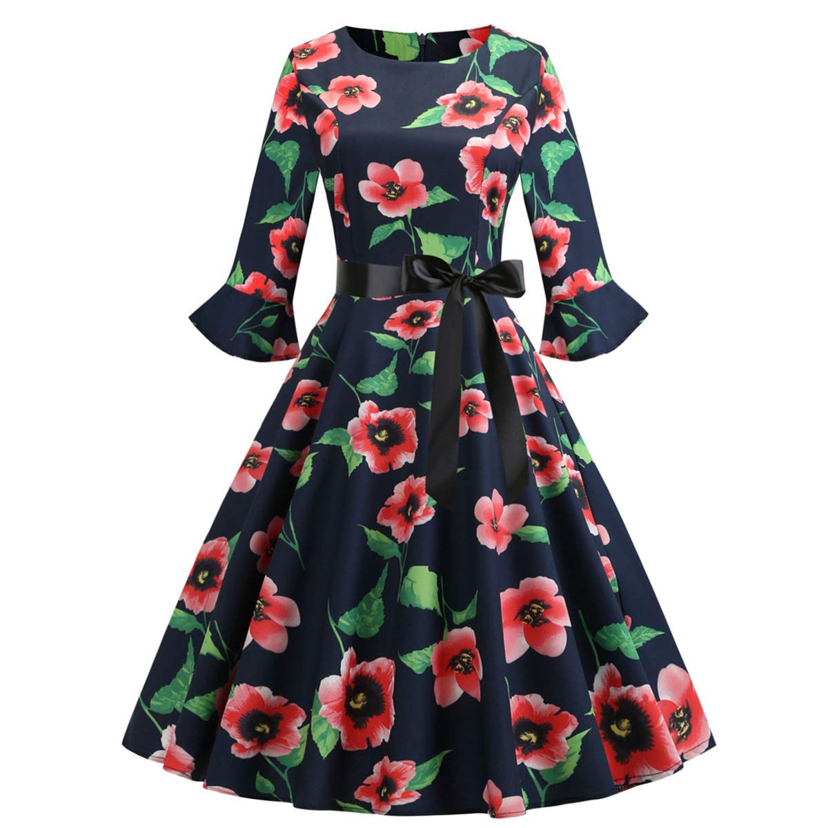 Women's Retro Printing Evening Dress Floral Printed Round Neck 3/4 Sleeve Banquet Casual Party Dress Plus Size Fmeijia Red