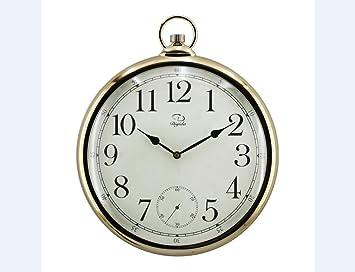 WYX@ Reloj de pared reloj de bolsillo estilo retro living comedor pared reloj moderno reloj electrónico , electroplating arabia , 14 inches: Amazon.es: ...