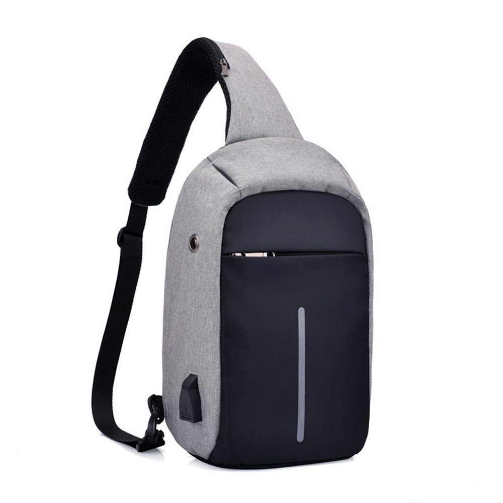 メンズ キャンバス 胸部 防水 ビジネス 旅行 USBインターフェース 充電式 バックパック ポリエステル 反射 B07DY552RN
