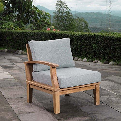 Modway EEI-1148-NAT-GRY-SET Marina Premium Grade A Teak Wood Outdoor Patio Sectional Sofa, Left-Arm, Natural - Teak Natural Arms